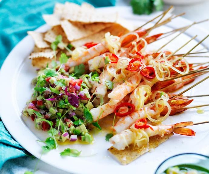 "Warm spiced prawns with avocado salsa <br><br> This light, fresh and flavoursome dish is perfect as a starter or finger food for Christmas dinner parties. <br><br> *See the full Australian Women's Weekly recipe [here](https://www.womensweeklyfood.com.au/recipes/warm-spiced-prawns-with-avocado-salsa-13502|target=""_blank""