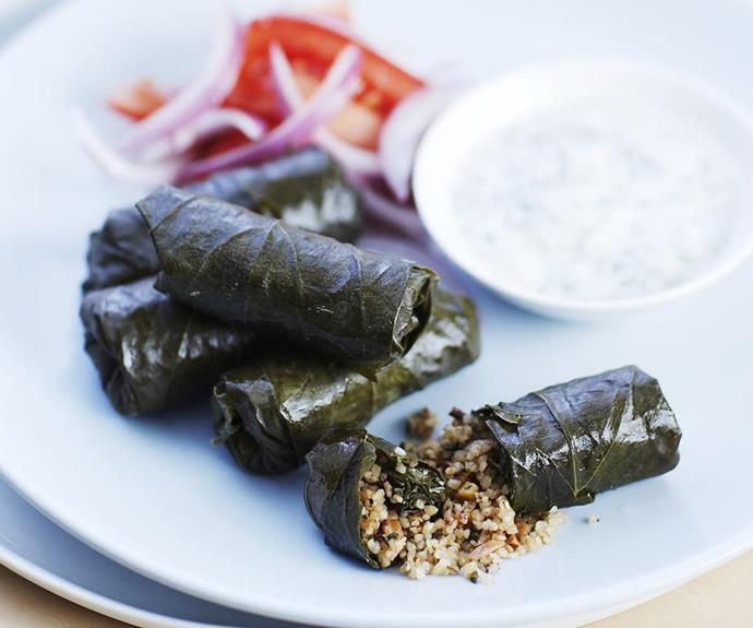 "**Stuffed vine leaves with yoghurt dip** <br><br> This healthy twist on the traditional Greek dish uses burghul instead of rice and includes a whole bunch of delicious nuts and herbs for extra flavour.  <br><br> *See the full Australian Women's Weekly recipe [here](https://www.womensweeklyfood.com.au/recipes/stuffed-vine-leaves-with-yoghurt-dip-4980|target=""_blank""
