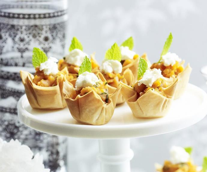 "**Sweet potato, mint and goat's cheese tartlets** <br><br> The hardest part about this recipe is roasting the sweet potato. Everything else is dead-easy! <br><br> *See the full Australian Women's Weekly recipe [here](https://www.womensweeklyfood.com.au/recipes/sweet-potato-mint-and-goats-cheese-tartlets-4303|target=""_blank"").*"