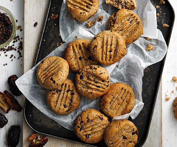 "**Sugar-free cacao and hazelnut cookies** <br><br> With chia seeds for extra protein and crunch, these healthy cookies won't disappoint when it comes to flavour. <br><br> *See the full Australian Women's Weekly recipe [here](https://www.womensweeklyfood.com.au/recipes/sugar-free-cacao-and-hazelnut-cookies-28529|target=""_blank""