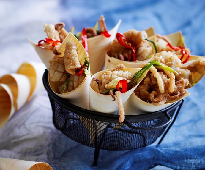 "**Five spice squid with lime mayonnaise** <br><br> Excite your dinner guests with this crunchy, succulent and delicious five-spice squid, served with zingy lime mayonnaise. It makes the perfect share-plate for your next dinner party! <br><br> *See the full Australian Women's Weekly recipe [here](https://www.womensweeklyfood.com.au/recipes/five-spice-squid-with-lime-mayonnaise-28738|target=""_blank"")*."