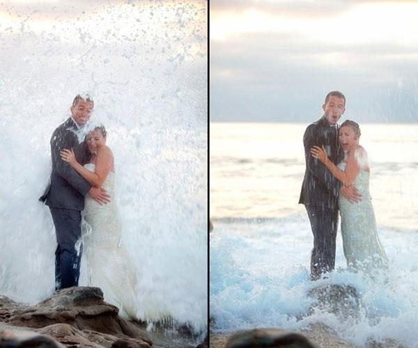 **Making a splash**  <br><br> This couple were hoping for a beautiful seaside snap, but got a bit more than they bargained for when a huge wave rained on their parade.