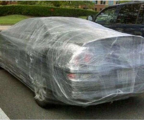 **That's a wrap!**  <br><br> These newlyweds didn't get the speedy getaway they were hoping for when the groomsmen wrapped their car in cling wrap at the reception.  <br><br> It took the pair two days to get into it, causing them to miss their honeymoon. What's more, they filed for an annulment three days later because of 'irreconcilable differences'. <br><br>