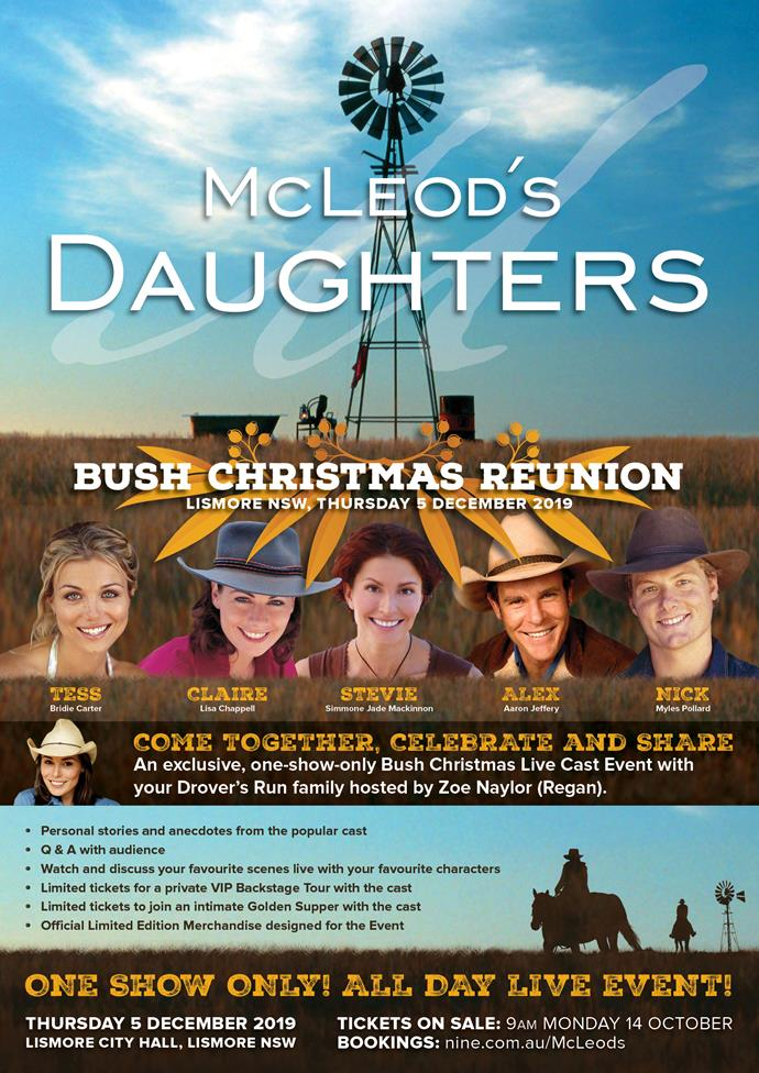 McLeod's Daughters Bush Christmas Reunion will be held in Lismore, NSW, Thursday December 5, 2019.