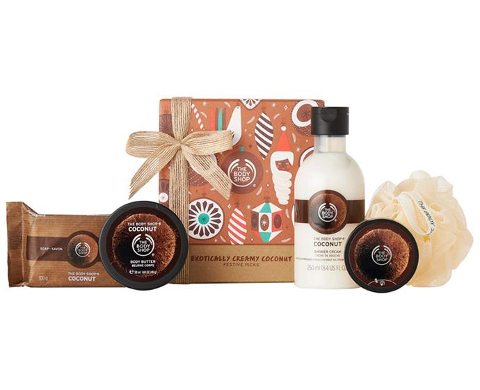 "**Exotically Creamy Coconut Festive Picks, $35 at [The Body Shop](https://www.thebodyshop.com/en-au/gifts/christmas-gifts/exotically-creamy-coconut-festive-picks/p/p003425|target=""_blank""