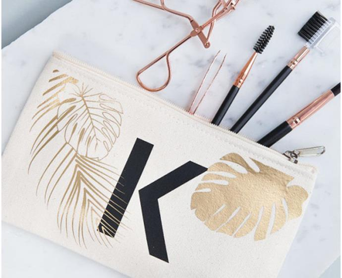 "**Clouds & Currents Personalised Tropical Makeup Bag, $38.50 at [Hard To Find](https://www.hardtofind.com.au/126113_personalised-tropical-makeup-bag|target=""_blank""