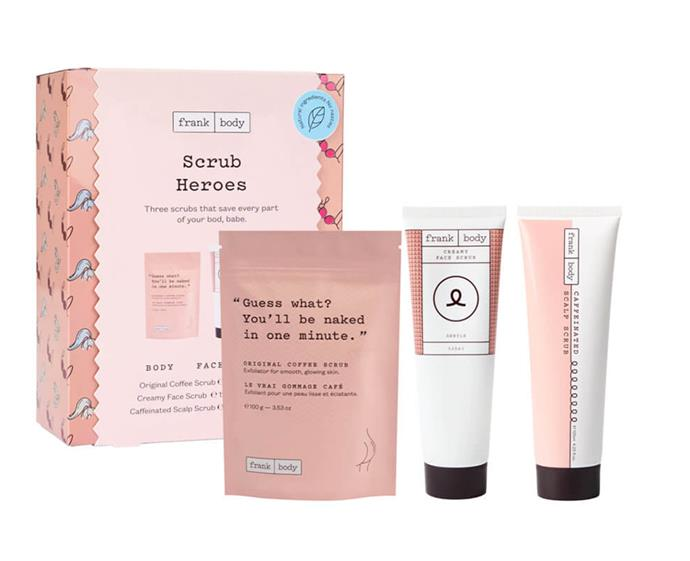 "**Frank Body Scrub Heroes kit, $49.95 at [MECCA](https://www.mecca.com.au/frank-body/scrub-heroes-kit/I-040322.html|target=""_blank""