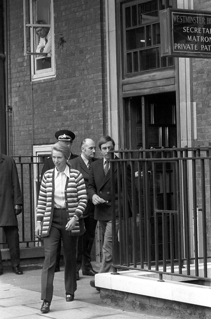 Princess Anne leaving Westminster Hospital after she visited her bodyguard who was shot.