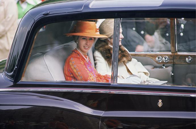 Princess Anne in a Rolls Royce, 1974.