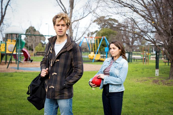 Paige navigates her feelings for ex Dan (George Pullar) in *Playing For Keeps.*