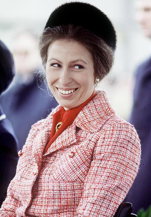 Anne gave the classic pillbox hat a twist, opting for this chic fur creation while visiting Gloucestershire in 1978.