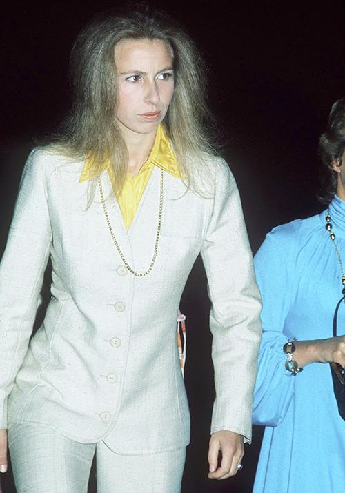 This rock 'n roll inspired pant suit worn by Anne in 1973 is also a forever mood.
