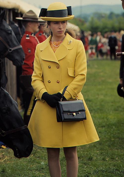 Attending horse trials in 1970 wearing a buttercup yellow ensemble, Anne proved she never missed an opportunity to put her best threads forward.