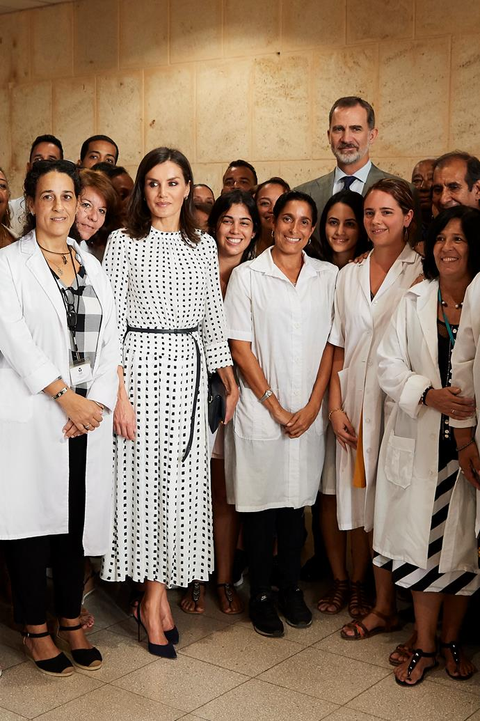 On day three of the tour, Letizia opted for another polka dot ensemble, this time in a stunning long sleeve style.