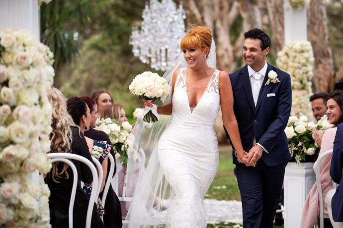 Jules and Cam were glowing on their first wedding day.