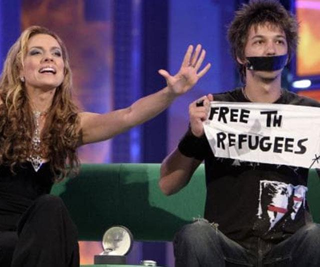 """Mike said he kept the letters that fell off Merlin's """"Free the refugees"""" sign in 2004."""