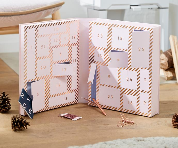 """**Kikki K Stationery Lovers Advent Calendar** <br><br> This very pretty pink and rose gold advent calendar features 25 gorgeous stationery gifts you'll get to open each day in the lead up to Christmas. <br><br> $149, from Kikki K stores [and online](https://www.kikki-k.com/au/shop-by/stationery-lovers-advent-calendar-luxe-soft-pink-christmas-11507401.html
