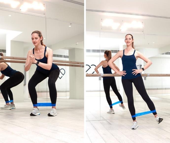 Louisa Drake demonstrates the right way to do Squats and Lateral Leg Lifts