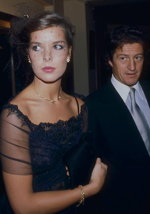 In 1979, Caroline glammed up with Philippe for a night out in Paris. Her up-do, accessorised with an early-80s-esque veiled cocktail hat, spelled out yet another glorious decade of fashion to come for the royal.