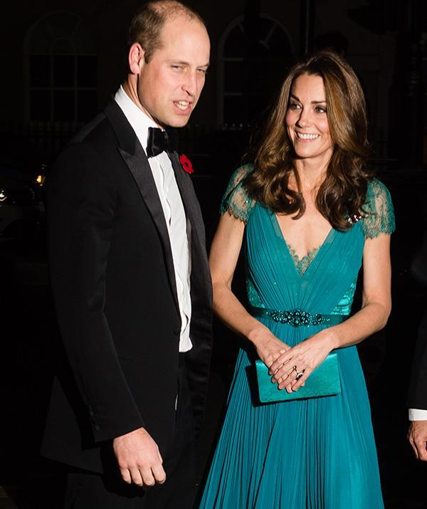 Last year, Kate wore this heavenly teal recycled dress by Jenny Packham.