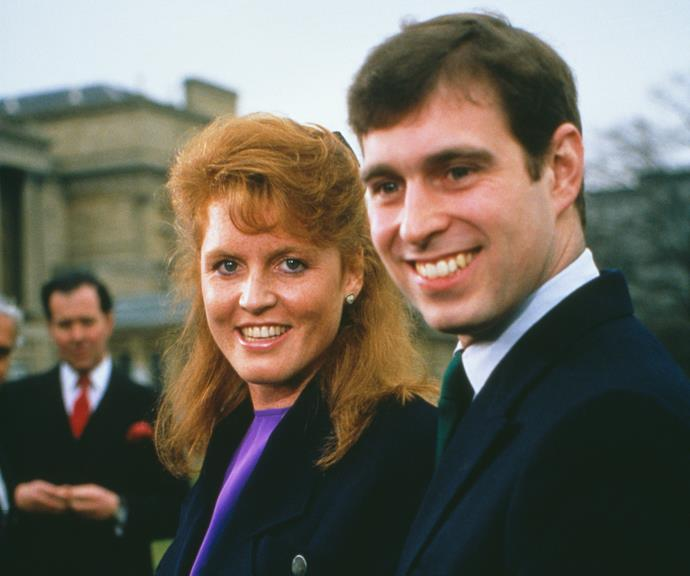 Fergie and Prince Andrew pictured at Buckingham Palace following their engagement announcement in 1986.