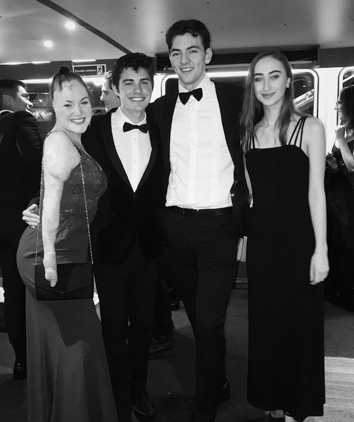 "Sophie (far left) next to potential lover Sebastian ""Seb"" Bielski  having a blast with friends at a ball."