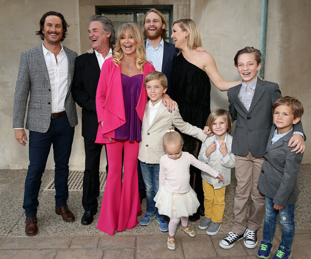 Happy families! Oliver Hudson, Kurt Russell, Goldie Hawn, Wyatt Russell and Kate Hudson with kids Ryder Robinson, Wilder Hudson, Bodhi Hudson, Rio Hudson and Bingham Bellamy attend the Annual Goldie's Love In For Kids in 2016.