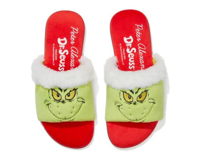 "**Grinchmas Slides, $45.95 at [Peter Alexander](https://www.peteralexander.com.au/shop/en/peteralexander/gifts/shop-for/christmas-gifts-for-her-under-50/grinchmas-slide?colour=RED|target=""_blank""