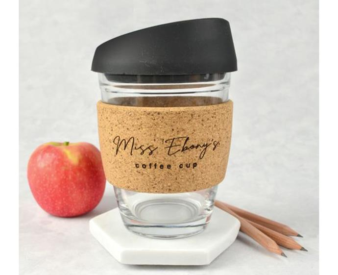 "**Teacher's Gift Keep Cup, $24.95 at [Personalised Favours](https://personalisedfavours.com.au/teacher-s-gift-engraved-cork-band-reusable-glass-coffee-keep-cup|target=""_blank""