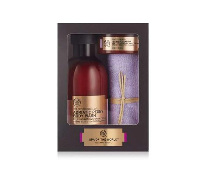 "**Spa Of The World™ Relaxing Selection, $35 at [The Body Shop](https://www.thebodyshop.com/en-au/ranges/spa-of-the-world/spa-of-the-world-relaxing-selection/p/p003042|target=""_blank""