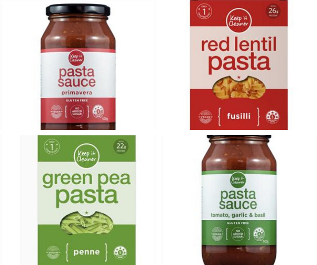 Keep It Cleaner's range of healthy packet foods, including green pea pasta, lentil pasta and tomato pasta sauces, are a sign of the healthy packaged food movement hitting our supermarket shelves.