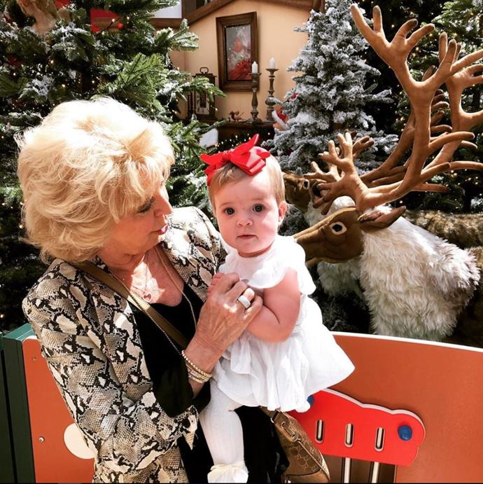 Proud grandma Patti Newton is celebrating little Perla's first Christmas in style with a visit to Santa. And Mr Claus even made a special video message for Bert!