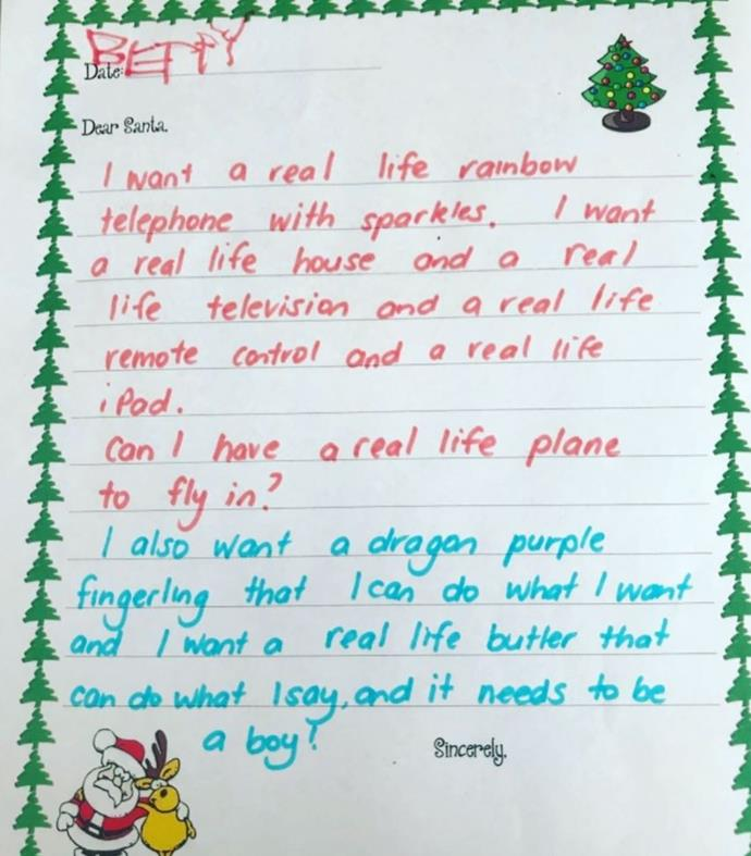 "We can't get over her brilliant letter to Santa. We too would love a ""real life rainbow telephone with sparkles""."