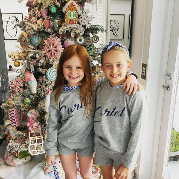 Christmas cuties! Radio personality Jackie O also shared this cute snap of daughter Kitty with Roxy's daughter Pixie.