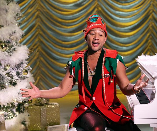 Sexiest Elf Alive! John Legend dressed up in a suitably festive costume during an appearance on *The Tonight Show With Jimmy Fallon*.