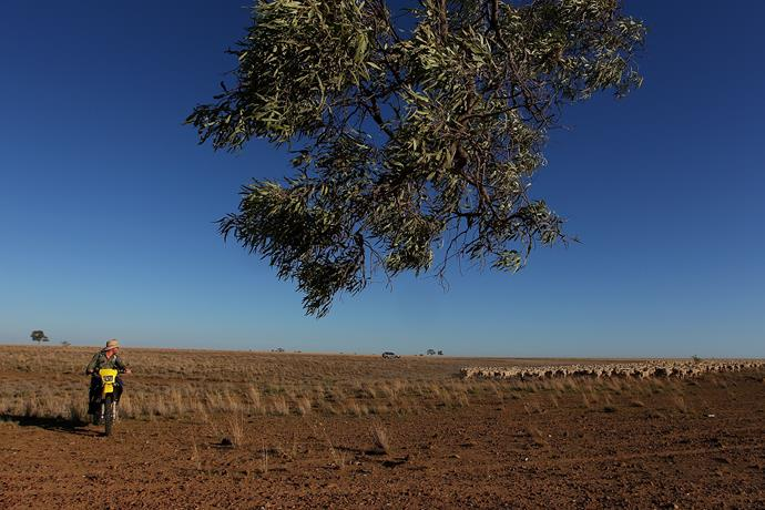 Not the first time Longreach has been affected, above is a farmer in 2014.