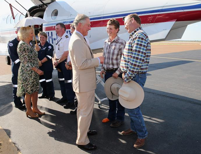 Camilla, Duchess of Cornwall and Prince Charles, Prince of Wales visit Longreach, Australia in 2012.