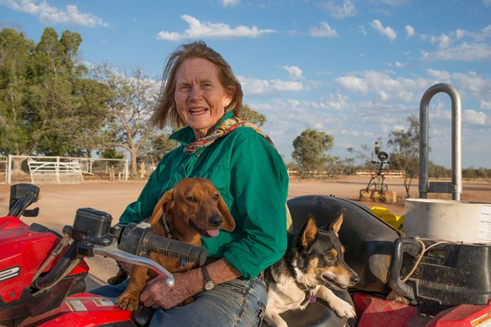 Rosemary Champion with her two dogs.
