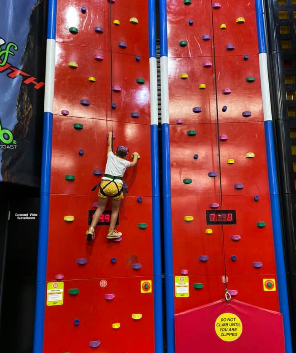 **Game Over, Gold Coast:** Clipped-climbing is so great. It works off a pulley system so there's no need for a parent spotter. You can totally get climbing too!