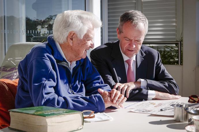 Bob Hawke meets with Labor Leader, Bill Shorten at Hawke's home on May 6, 10 days before Bob died (89).