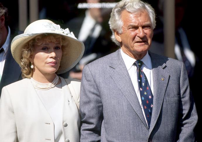 Former Australian Prime Minister Bob Hawke with wife Blanche d'Alpuget at Moonee Valley Racecourse in Melbourne, 1995.