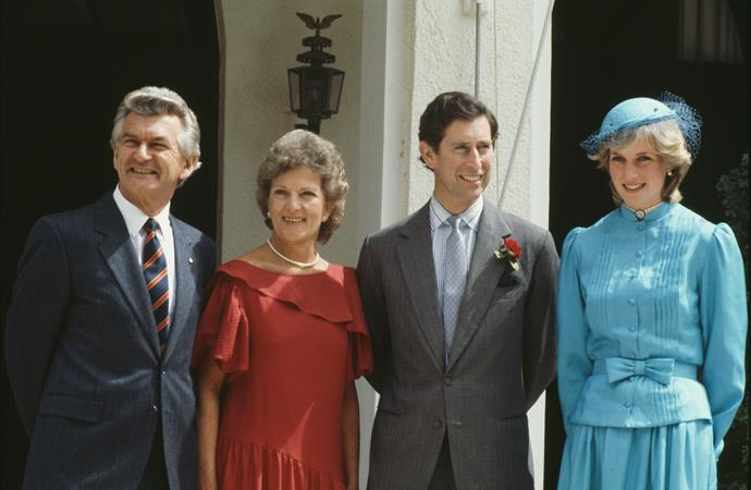 Prince Charles and Diana in Canberra with Bob Hawke and then, wife Hazel in 1983.