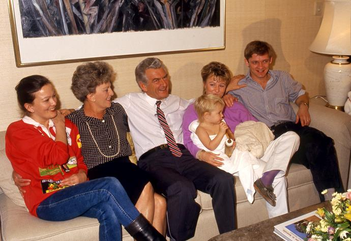 Bob Hawke with first wife Hazel and family on election night in Melbourne, 1987.