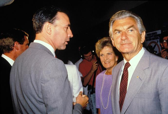 Bob Hawke with then wife Hazel and Paul Keating at NSW Labor Campaign 1988 in Sydney.