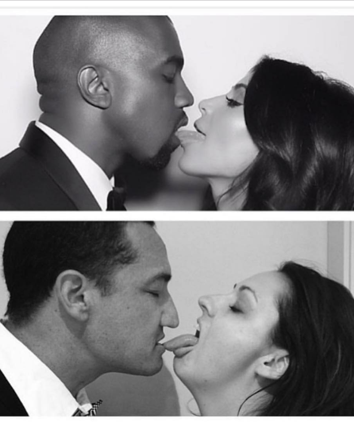 Celeste Barber and her husband #HotHusband hilariously recreate a photo of Kanye West and Kim Kardashian.