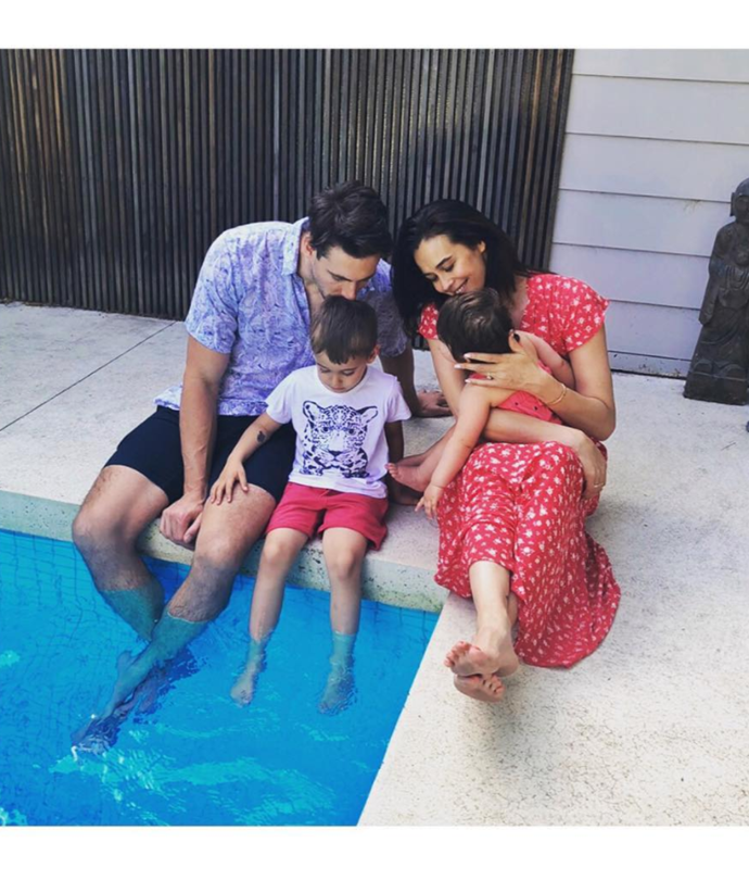 Megan Gale embracing quality time with family.
