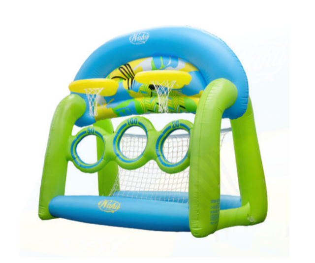 "**Wahu Skim'n Hoop, RRP $79.99:** If you fancy a break from the shouts of ""Mum, watch me!"" as you enjoy pool time with the family, Wahu has you sorted with a range of fun pool games to keep your family occupied while you're cooling down. As a bonus this large, multi-functional inflatable (measuring approx. 150cm x 145cm x 86cm when inflated), can be used both in and out of the pool for unlimited rounds of pool basketball challenges, water polo, pool football/soccer or skim ball challenges. Available at most major retailers."
