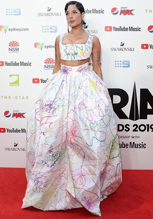 Talented songstress Halsey brings a colour explosion with this printed design.