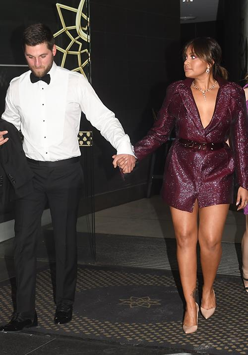 Aussie singer and actress Jessica Mauboy snuck in a cute handhold with her new fiance Themeli Magripilis as she arrived for the big event.