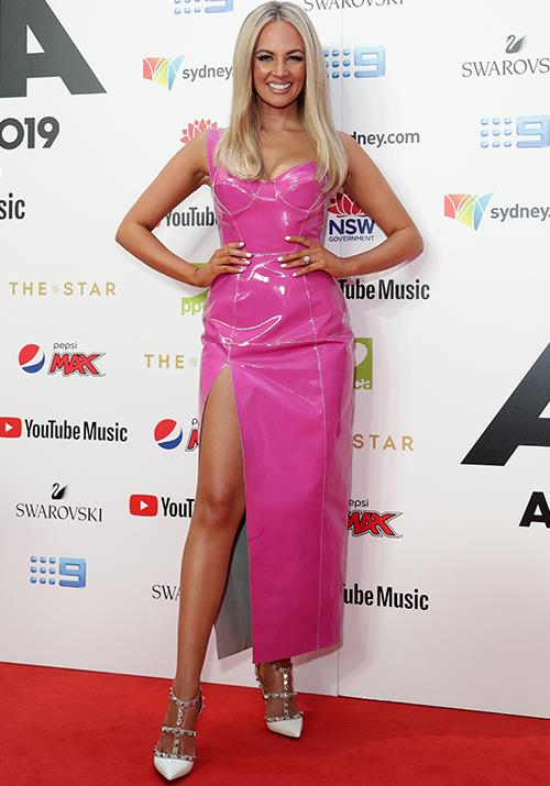 Samantha Jade channelled Barbie in this pleather pink get-up.